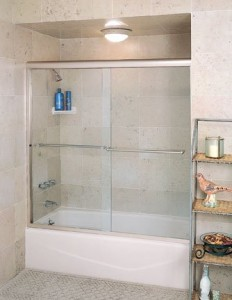 Centec frameless sliders by century bathworks, both panels with slide for easy access to shower controls.